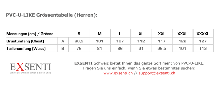 PVC-U-LIKE Herren- und Unisex-Grössentabelle